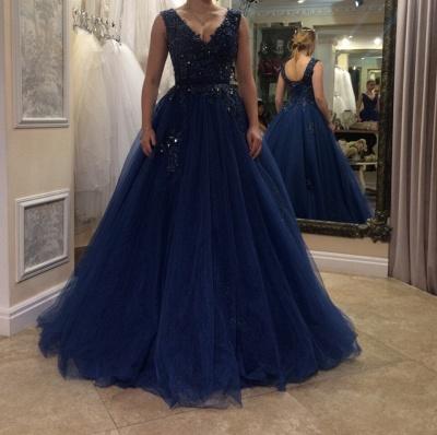 Elegant Abendkleider Dunkel Blau Mit Perlen Tülle Abendmoden Abiballkleider Online_2