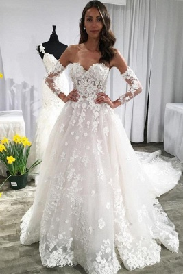 Modern Brautkleid A Linie Mit Spitze | Hochzeitskleider mit Ärmel_1