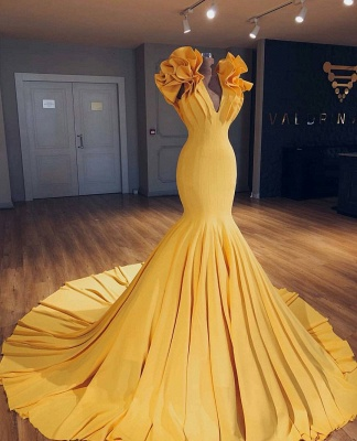 Fashion yellow long evening dresses cheap mermaid prom dresses evening wear online_2