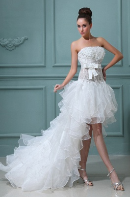 White Wedding Dresses Short Long Lace A Line Organza Bridal Wedding Gowns_1