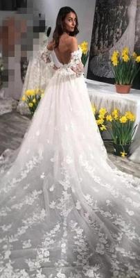 Modern Brautkleid A Linie Mit Spitze | Hochzeitskleider mit Ärmel_3