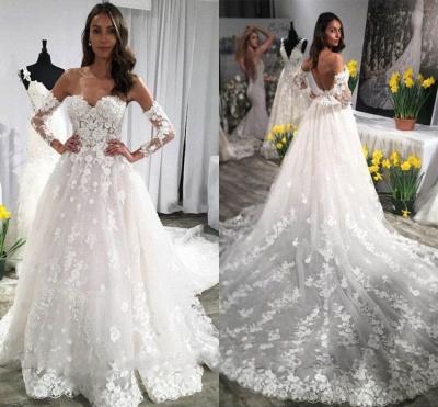 Modern Brautkleid A Linie Mit Spitze | Hochzeitskleider mit Ärmel_2