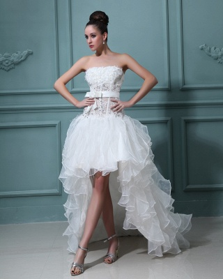 White Wedding Dresses Short Long Lace A Line Organza Bridal Wedding Gowns_3