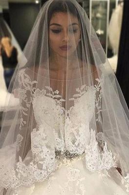 Weiße Brautkleider Lang Ärmel Spitze Empire Brautmoden Hochzeitskleider_1