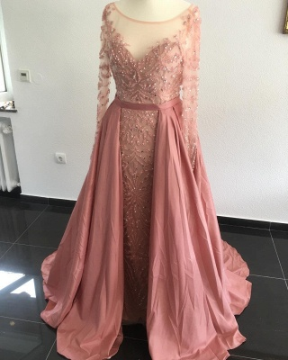 Elegant Evening Dresses Long Pink A Line Evening Wear Prom Dresses Online_1