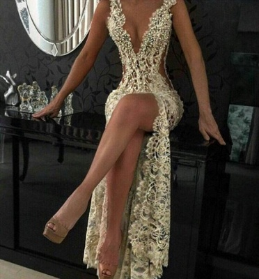 Lace Evening Dresses Long Cheap With Beaded Mermaid Evening Wear Prom Dresses_2