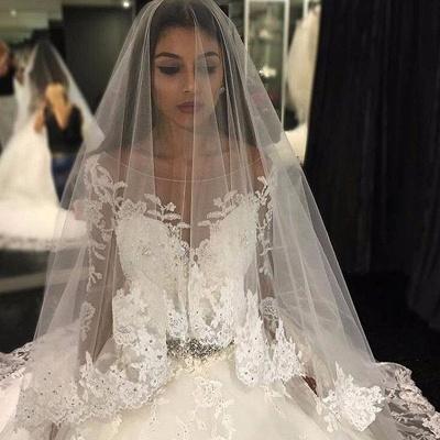 Weiße Brautkleider Lang Ärmel Spitze Empire Brautmoden Hochzeitskleider_2
