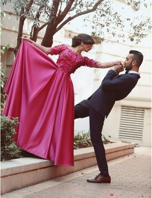 Buy pink long evening dresses with lace sleeves a line floor length evening wear_2