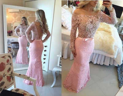 Pink Prom Dresses Long Sleeves Beaded Lace Evening Wear Prom Dresses_2