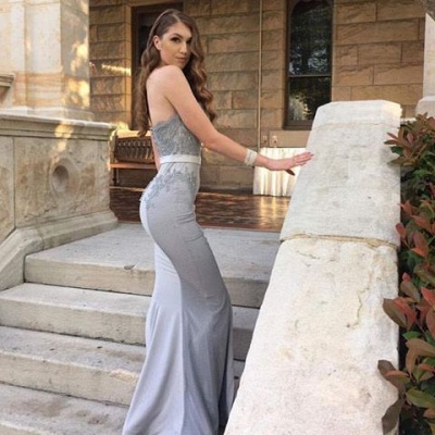 Elegant Silver Long Evening Dresses With Lace Chiffon Mermaid Evening Wear Prom Dresses_3