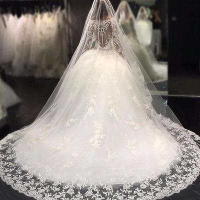 Weiße Brautkleider Lang Ärmel Spitze Empire Brautmoden Hochzeitskleider_4