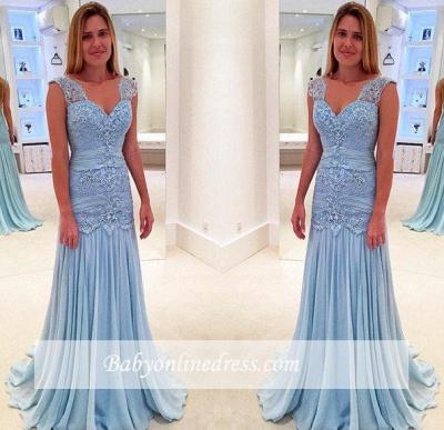 Blau Brautmutterkleider Spitze Chiffon Lange Kleider Für Brautmutter_2