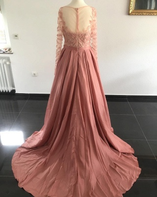 Elegant Evening Dresses Long Pink A Line Evening Wear Prom Dresses Online_2