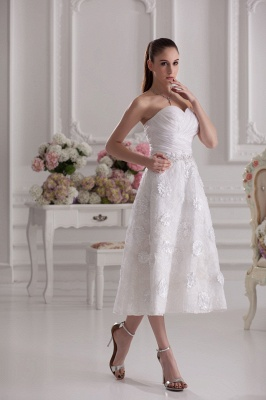 New Wedding Dresses Short With Lace A Line Knee Length Dresses Wedding Gowns Cheap_4
