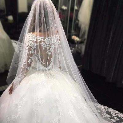 Weiße Brautkleider Lang Ärmel Spitze Empire Brautmoden Hochzeitskleider_3