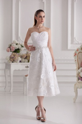 New Wedding Dresses Short With Lace A Line Knee Length Dresses Wedding Gowns Cheap_1