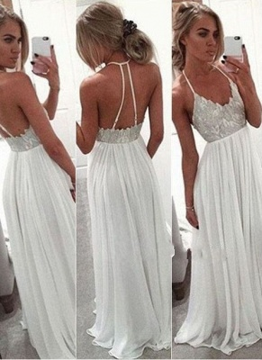 Simple white prom dresses long chiffon cheap evening dresses prom dresses_2