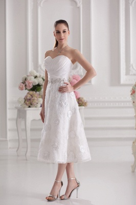 New Wedding Dresses Short With Lace A Line Knee Length Dresses Wedding Gowns Cheap_2