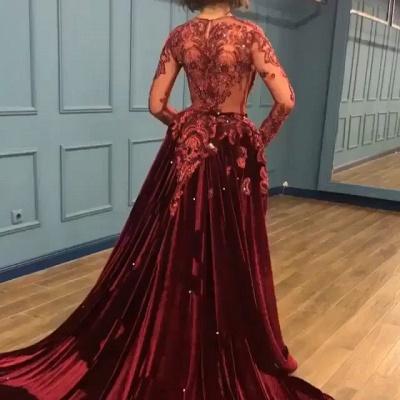 Burgundy Abendkleider mit Ärmel | Velvet Abendkleid Günstig Online_2