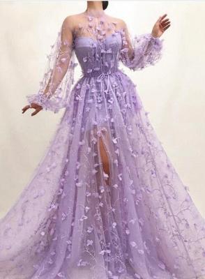 Elegante Abendkleider mit Ärmel | Lila Spitze Abendmoden Online_1