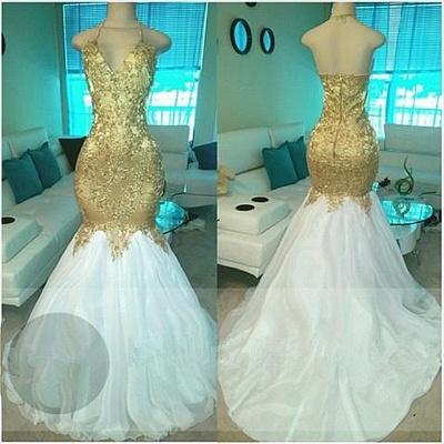 Golden White Evening Dresses Long Prom Dresses Beaded Mermaid Prom Dresses_2