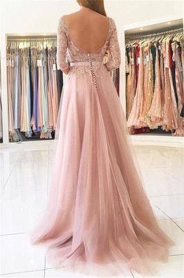 Rosa Abendkleider Lang Günstig Mit Ärmel Spitze Abendmoden Online_2