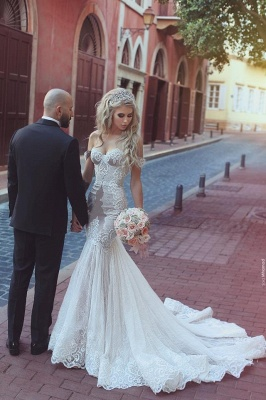 Cheap Wedding Dresses White With Lace Mermaid Heart Neckline Bridal Gowns Online_3