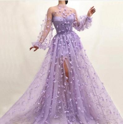 Elegante Abendkleider mit Ärmel | Lila Spitze Abendmoden Online_2