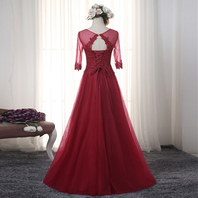 Red Evening Dresses Long Sleeves With Lace A line Tulle Evening Wear Party Dresses_2