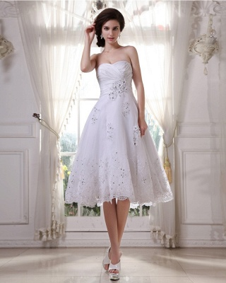 White Wedding Dresses Short Lace Heart A Line Knee Length Bridal Wedding Gowns_5
