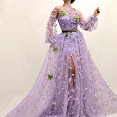 Elegante Abendkleider mit Ärmel | Lila Spitze Abendmoden Online_3