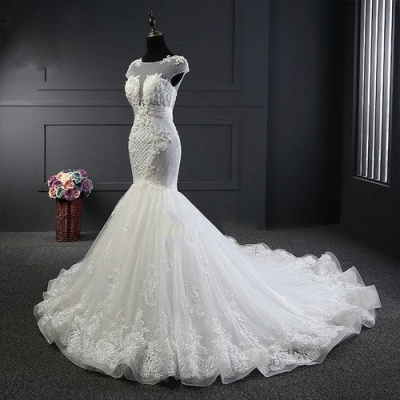Designer White Wedding Dresses With Lace Mermaid Organza Wedding Gowns Cheap_4