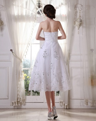 White Wedding Dresses Short Lace Heart A Line Knee Length Bridal Wedding Gowns_2