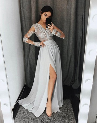 Silver Evening Dresses Long With Sleeves Chiffon Evening Dresses Lace Online_1