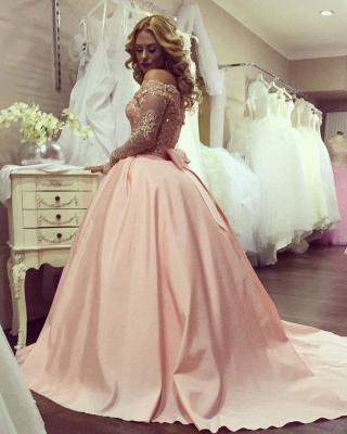 Blush pink wedding dresses with sleeves large size wedding dresses satin custom moderate_2