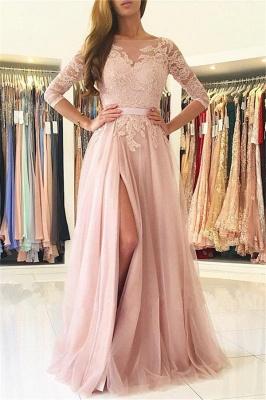 Rosa Abendkleider Lang Günstig Mit Ärmel Spitze Abendmoden Online_1