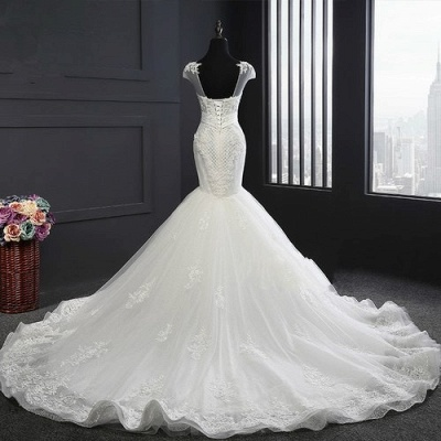 Designer White Wedding Dresses With Lace Mermaid Organza Wedding Gowns Cheap_2