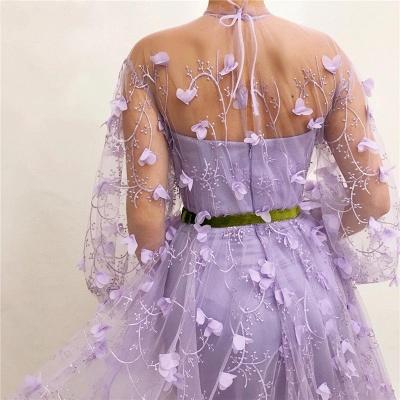 Elegante Abendkleider mit Ärmel | Lila Spitze Abendmoden Online_5