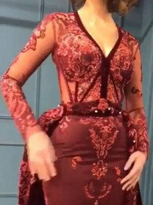 Burgundy Abendkleider mit Ärmel | Velvet Abendkleid Günstig Online_3