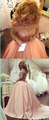 Blush pink wedding dresses with sleeves large size wedding dresses satin custom moderate_3