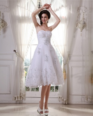 White Wedding Dresses Short Lace Heart A Line Knee Length Bridal Wedding Gowns_4