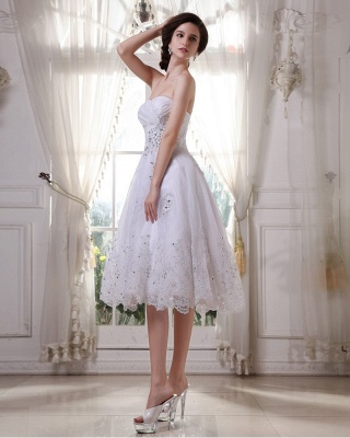 White Wedding Dresses Short Lace Heart A Line Knee Length Bridal Wedding Gowns_3