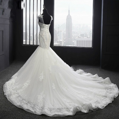 Designer White Wedding Dresses With Lace Mermaid Organza Wedding Gowns Cheap_3