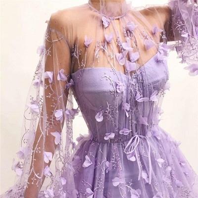 Elegante Abendkleider mit Ärmel | Lila Spitze Abendmoden Online_4