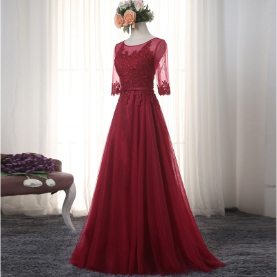 Red Evening Dresses Long Sleeves With Lace A line Tulle Evening Wear Party Dresses_3
