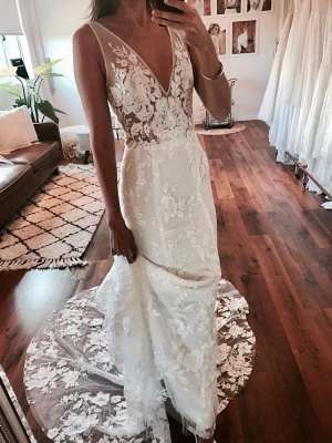 Wedding Dresses V Neck Cheap | Wedding dresses with lace_1