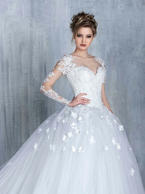 Empire Wedding Dresses With Sleeves Heart Tulle White Wedding Gowns With Lace Bridal_1