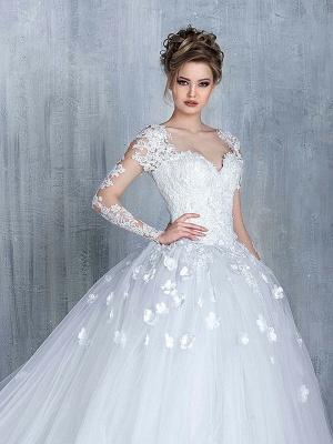 Empire Brautkleider Mit Ärmel Herz Tüll Weiß Hochzeitskleider Mit Spitze Brautmoden_1