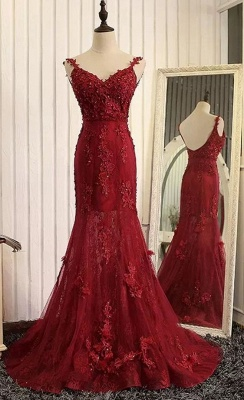 Wine red evening dresses long cheap lace mermaid prom dresses evening wear online_2