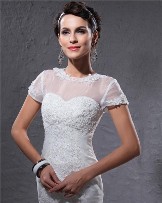 White Wedding Dresses With Sleeves Lace Mermaid Organza Wedding Gowns_4